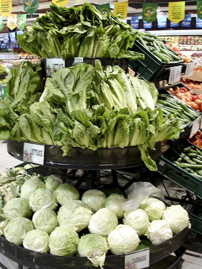 Lebensmittelmarkt, vertikale Präsentation