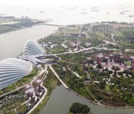 Blick auf Gardens by the bay singapur